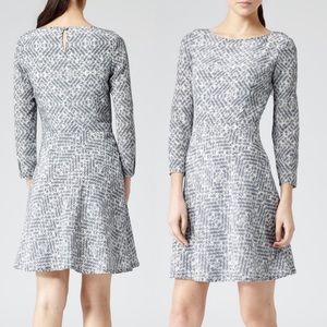 Reiss silk Heidi check print fit and flare dress